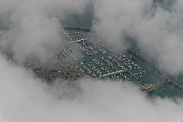 Brighton Marina under the clouds