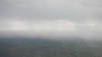 Nuages et pluie, vue du ciel