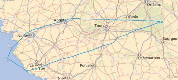 Trace de la navigation Aubigny - Les Sables d'Olonne - balade vers l'Ile d'Yeu et Noirmoutier - Angers - Aubigny